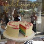 Zeigt eine Regenbogen-Torte.